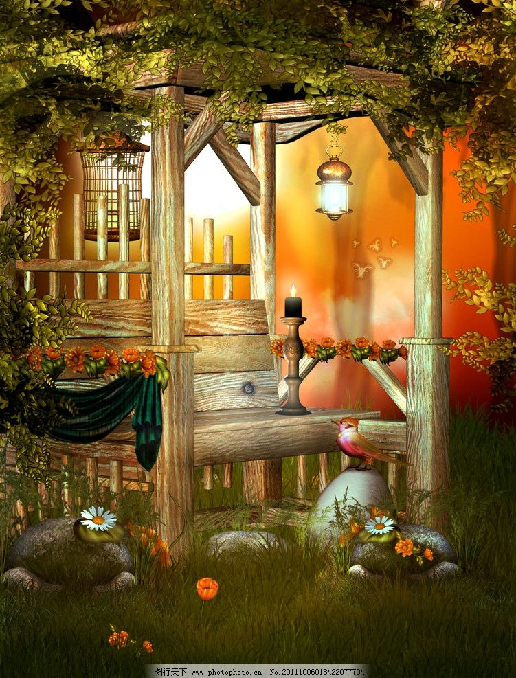童话世界 梦幻森林 绿叶 草地 野菊花 花草 猫灯光 梦幻背景