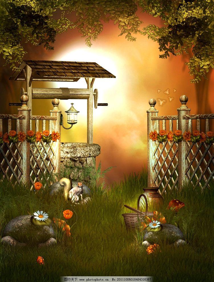 童话世界 梦幻森林 绿叶 草地 野菊花 花草 松鼠 灯光 梦幻背景 浪漫