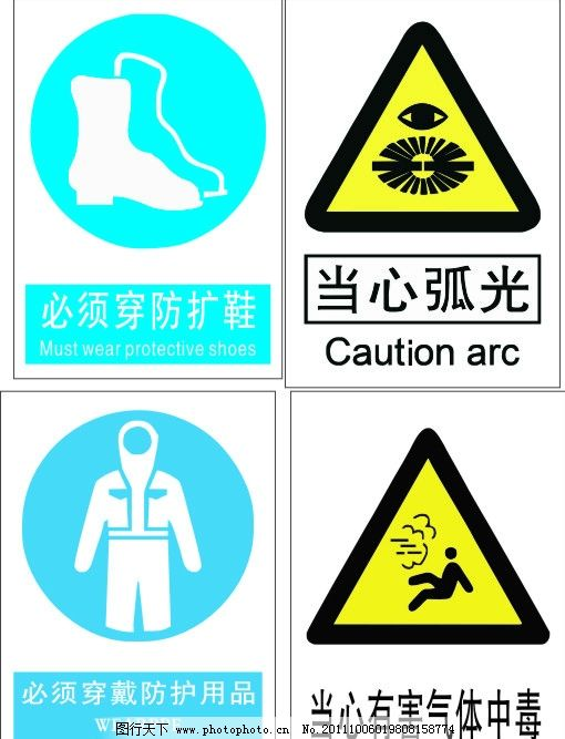 安全标志 当心弧光 当心有害气体中毒 必须穿防护鞋 必须穿戴防护用品