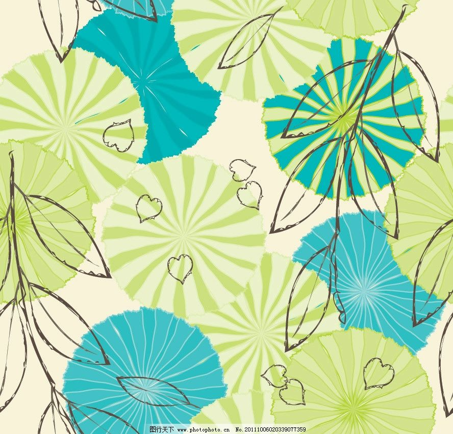 手绘树叶花纹底纹 手绘 树叶 落叶 古典 线条 可爱 时尚 潮流 梦幻