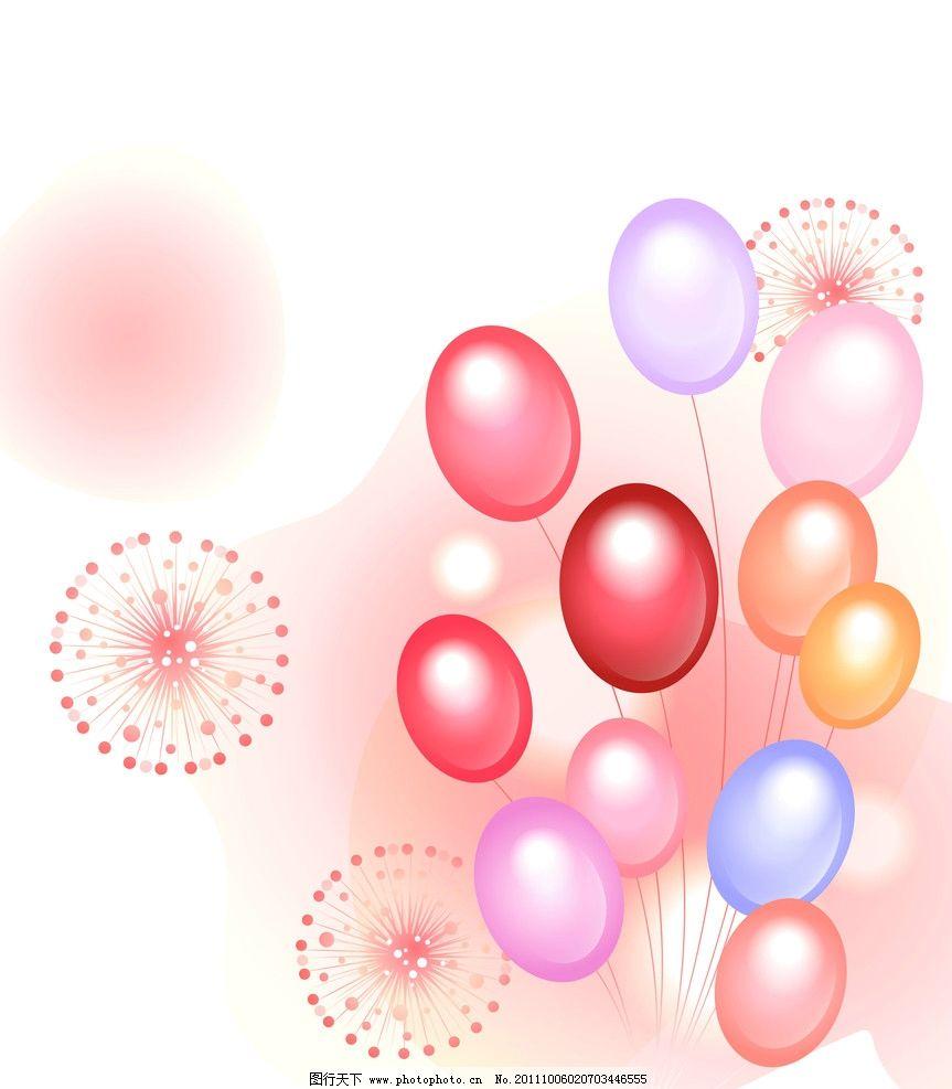 彩色气球 烟花 圆圈 圆 梦幻 浪漫 移门 移门图案 红色气球 底纹边框
