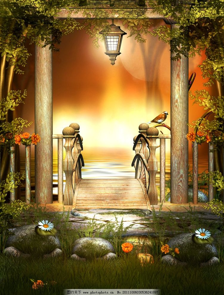 童话世界 梦幻森林 绿叶 草地 野菊花 花草 小鸟 梦幻背景 浪漫背景