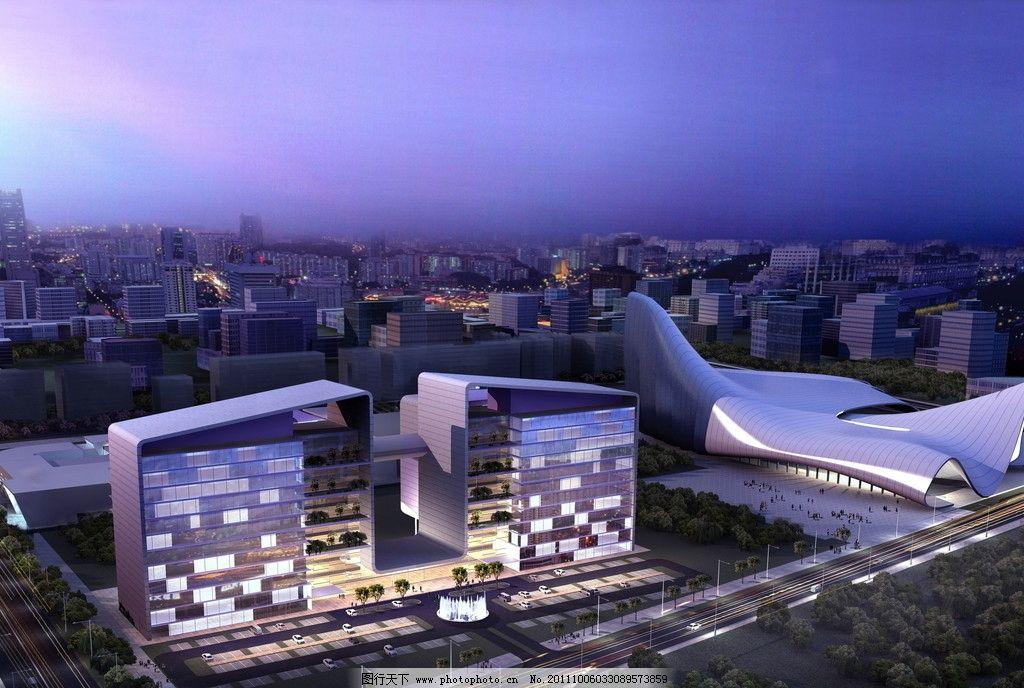 大楼建筑效果图 鸟瞰效果图 公共建筑 城市建筑 建筑外观 建筑外立面
