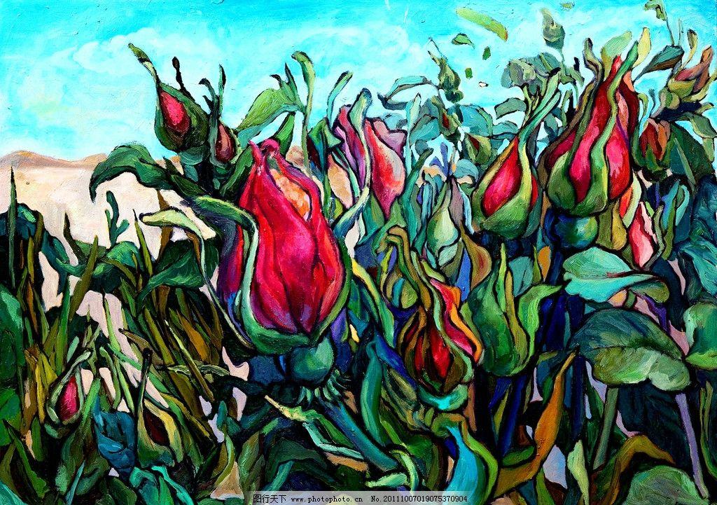 玫瑰花 美术 绘画 油画 装饰画 花卉 花木 花朵 油画艺术图片