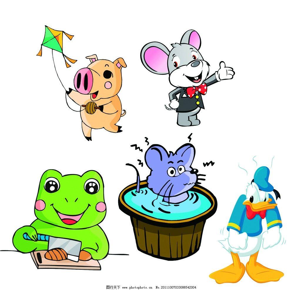 可爱卡通动物 放风筝的小猪 小老鼠 小青蛙 倒霉的唐老鸭 psd分层素材