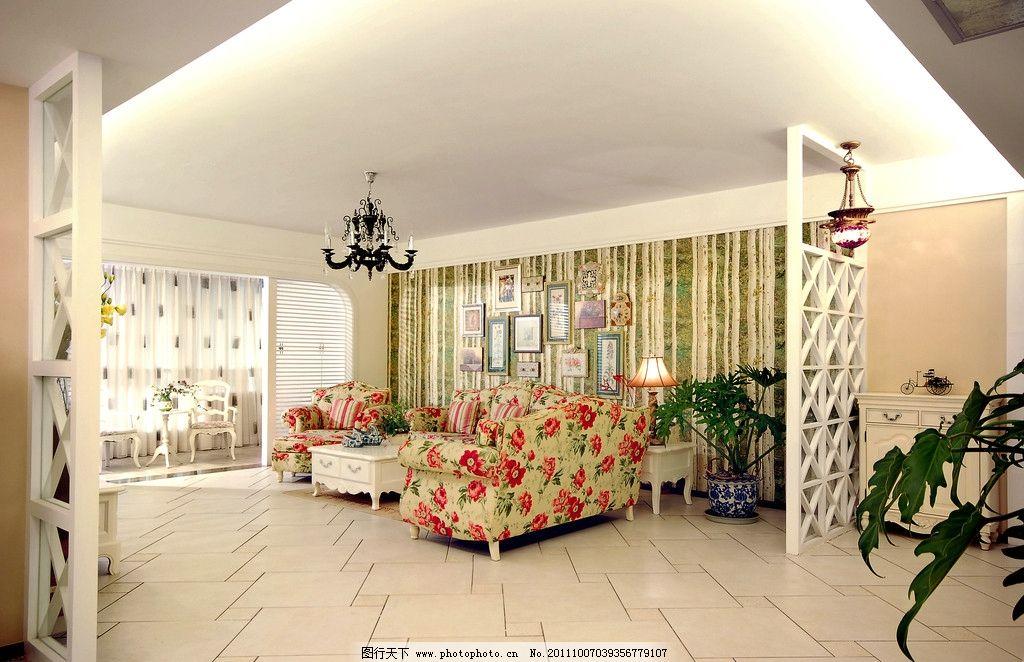 田园风格客厅 碎花沙发 欧式 隔板 壁纸 室内摄影 建筑园林