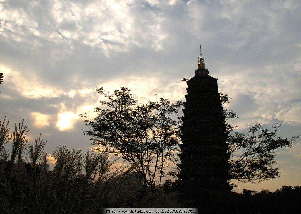 常州红梅公园 宝塔 树林