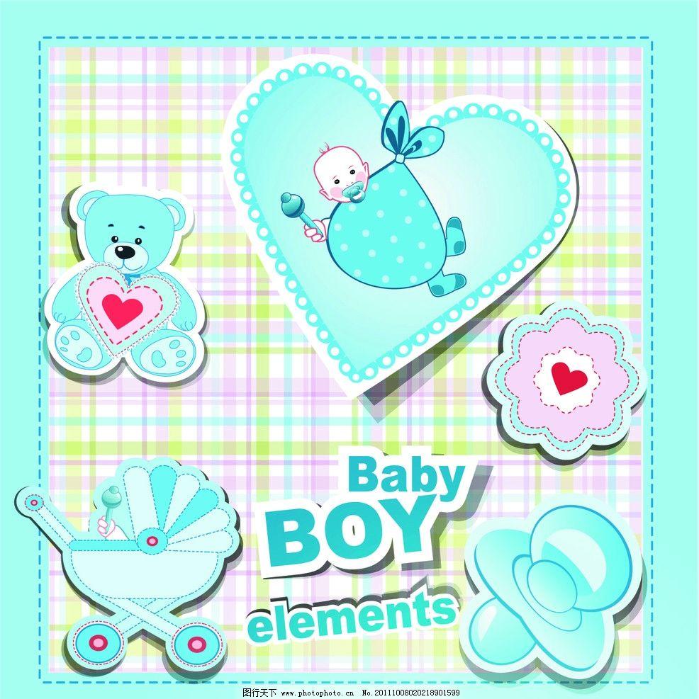 可爱婴儿卡通插画背景图片