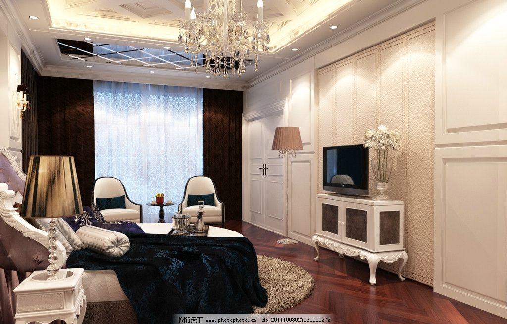 欧式儿童房 圆床 电视背景墙 木地板 室内设计 环境设计 设计 300dpi