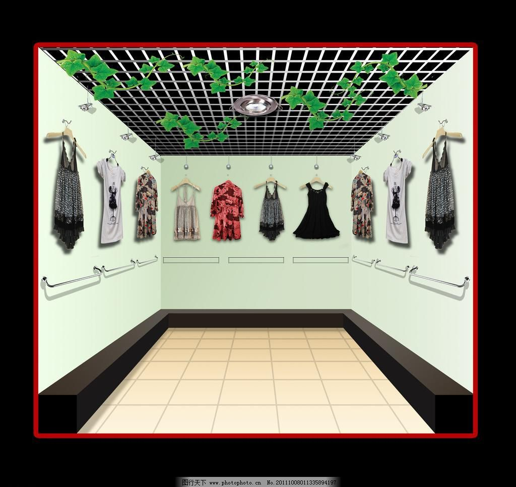 psd 布置 地板 吊顶 服装 服装店 服装店效果图 环境设计 墙面 室内