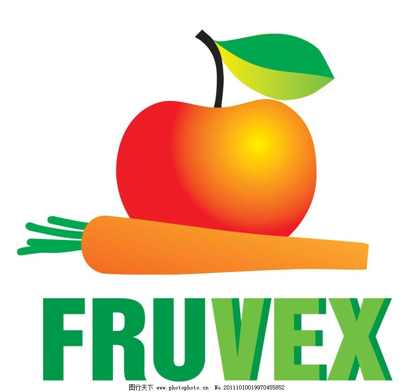 创意水果标志设计 苹果 胡萝卜 绿叶 高光 绿色立体字体 标识标志图标图片