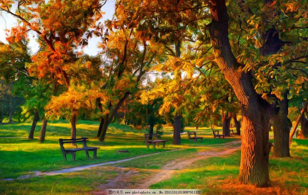 风景油画 树木 树林 绿地 自然风光 公园 森林公园 自然风景