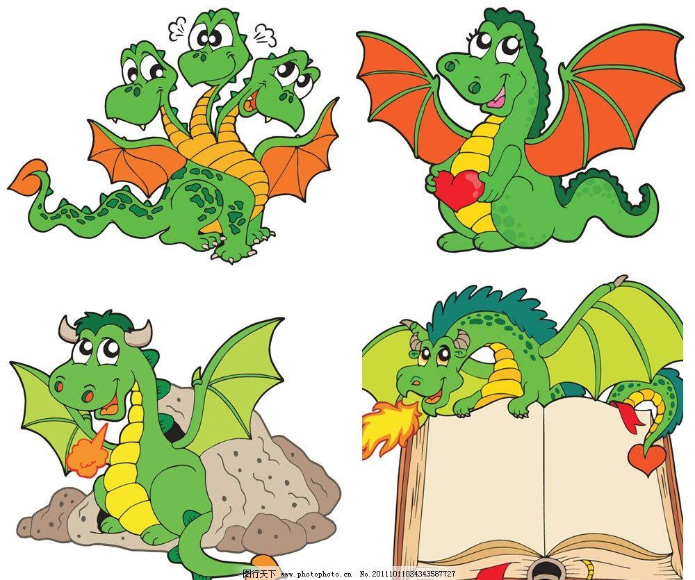 手绘卡通龙矢量 手绘 卡通 龙 翅膀 看书 幽默 滑稽 有趣 搞笑 可爱