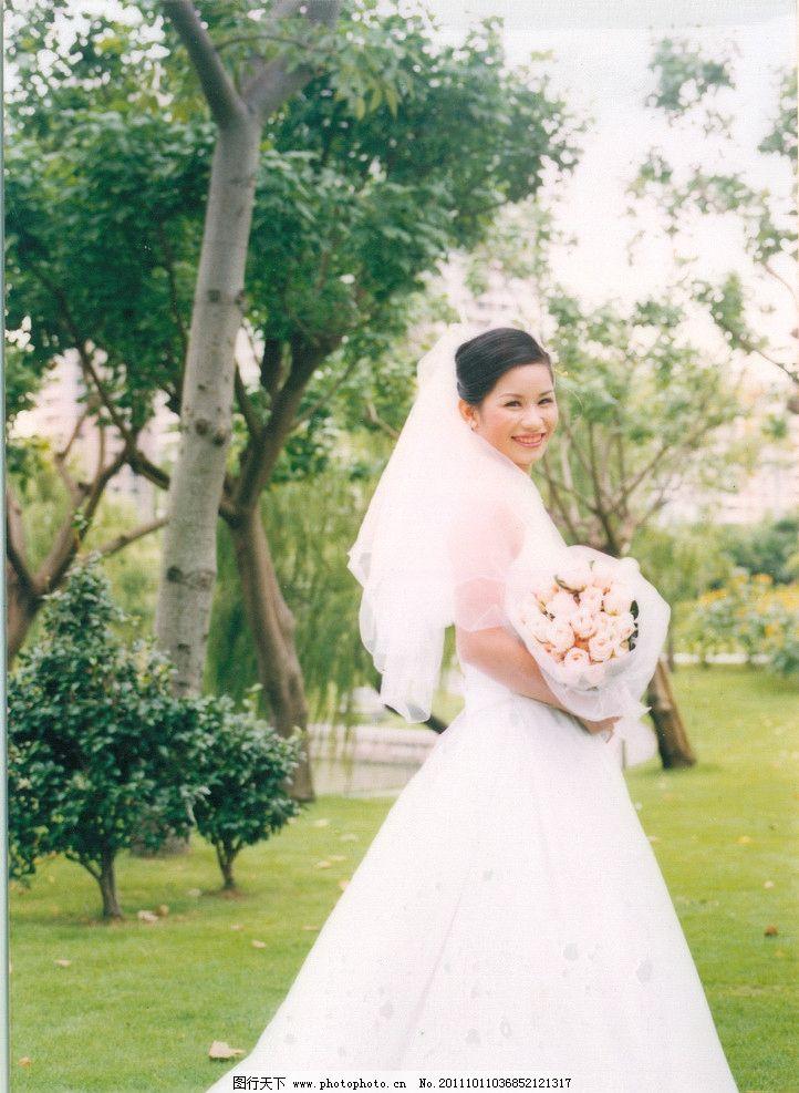 婚纱照 灿烂的笑容 婚纱 美女 新娘 外景 艺术照 女性女人 人物图库
