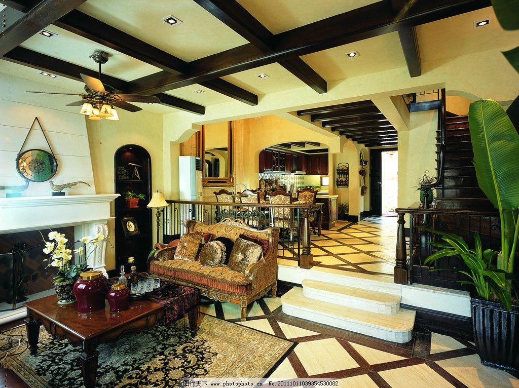 欧式风格错层客厅餐厅图片
