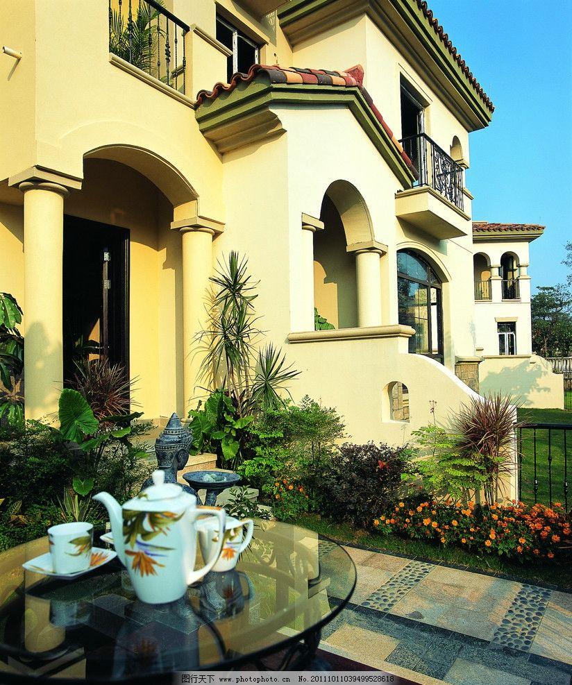 别墅外景 豪华别墅外景 黄色 欧式 蓝天 花 茶壶 茶桌 建筑摄影 建筑