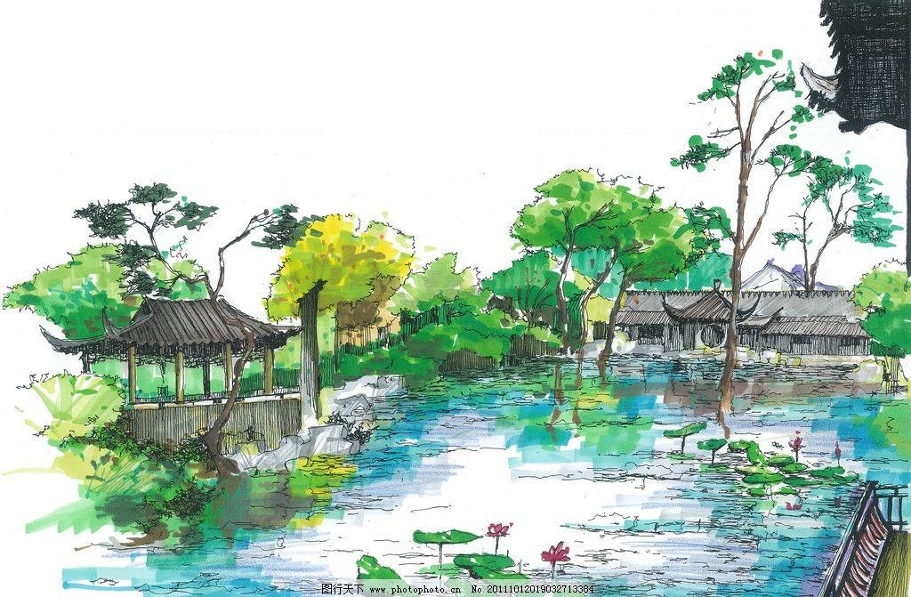 手绘风景图图片