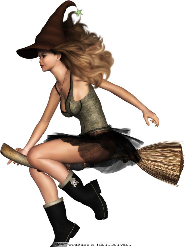 女巫 万圣节人物 巫女 扫把 cg美女 少女 3d设计 设计 28dpi png