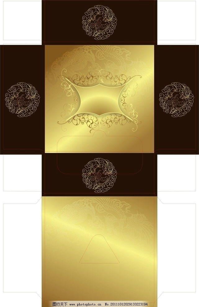 矢量抽纸盒 矢量 抽纸盒 金色 金色渐变 底纹花 棕色 背景 金黄色