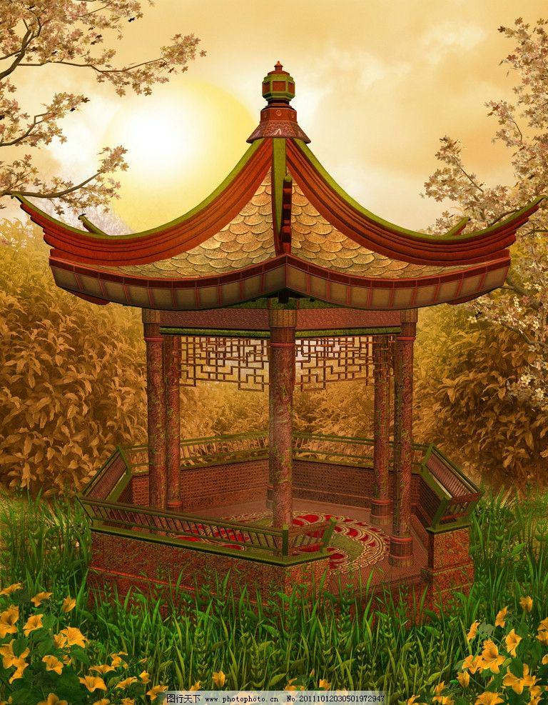 童话世界 梦幻森林 百合花 中国古典建筑 凉亭 花草 草地 绿草