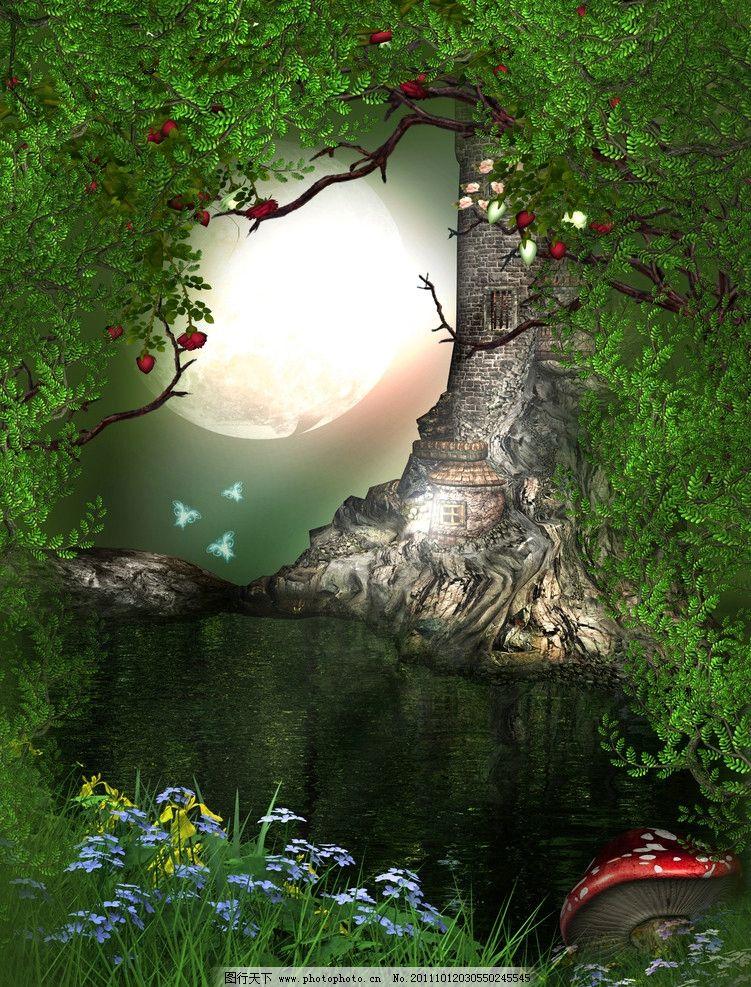 绿地 菊花 梦幻森林 绿树 梦幻背景 浪漫背景 影楼 浪漫 温馨 童话 儿
