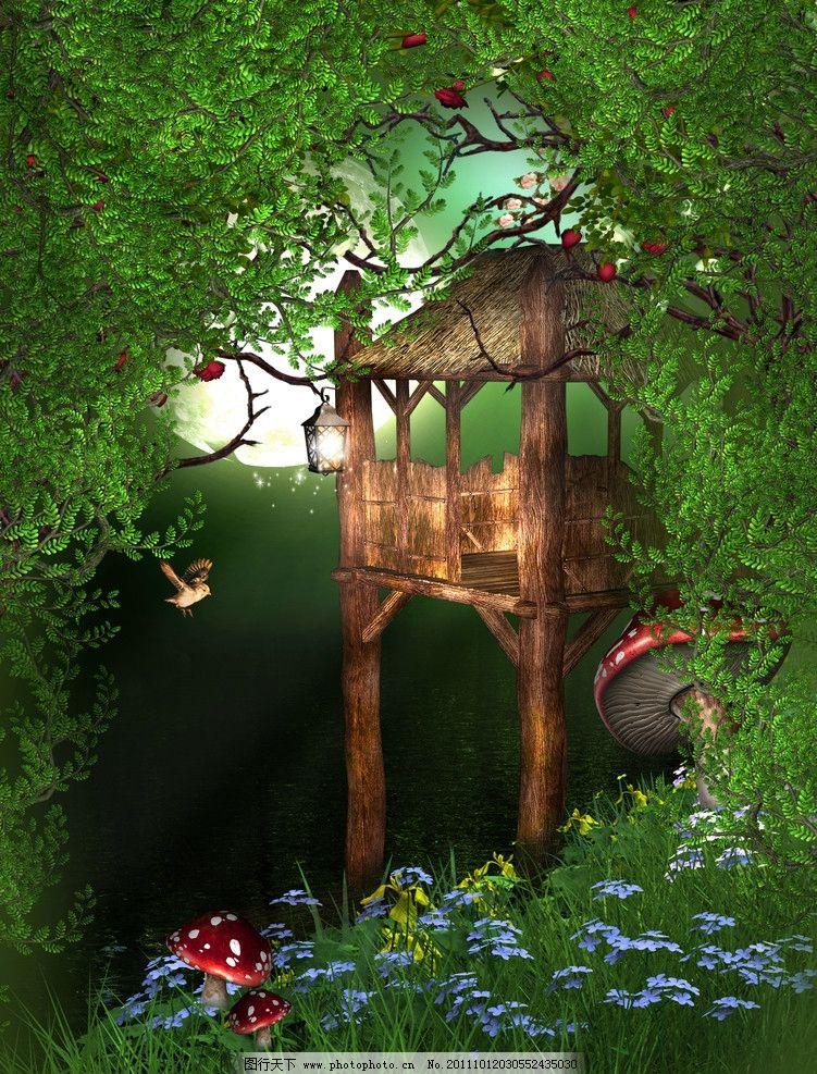 绿地 菊花 梦幻森林 绿树 梦幻背景 浪漫背景 影楼 浪漫 温馨 童话