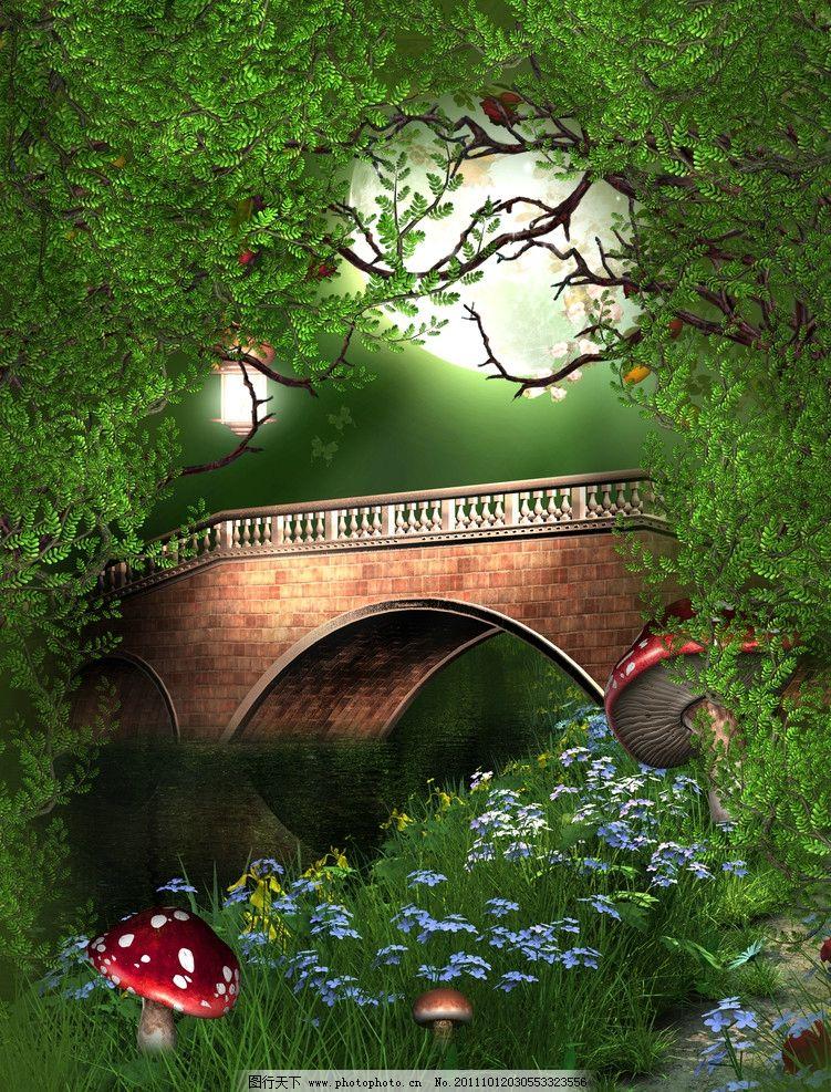 绿树 梦幻背景 浪漫背景 影楼 浪漫 温馨 童话 儿童乐园 婚纱摄影