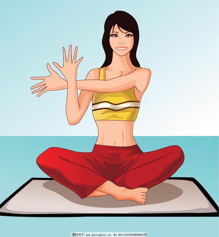 韩国卡通 减肥 健身 可爱女孩 美女 美容 美体 卡通瑜伽人物图片矢量