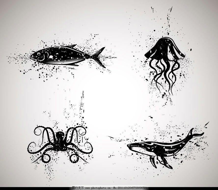 手绘墨迹海洋生物图片