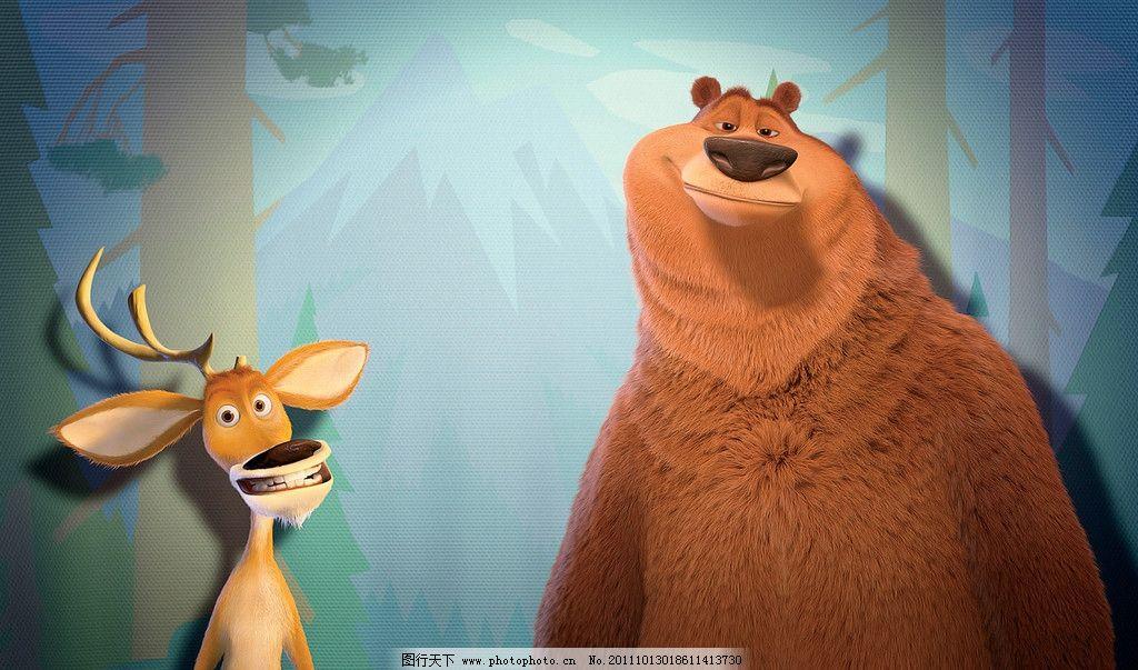 卡通动物 动物壁纸 桌面 经典 动物世界 熊鹿 动漫动画