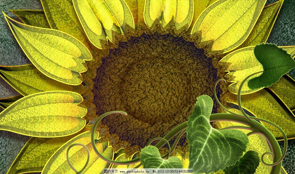 向日葵 炫彩植物图片 动物 花朵 叶子 阳光