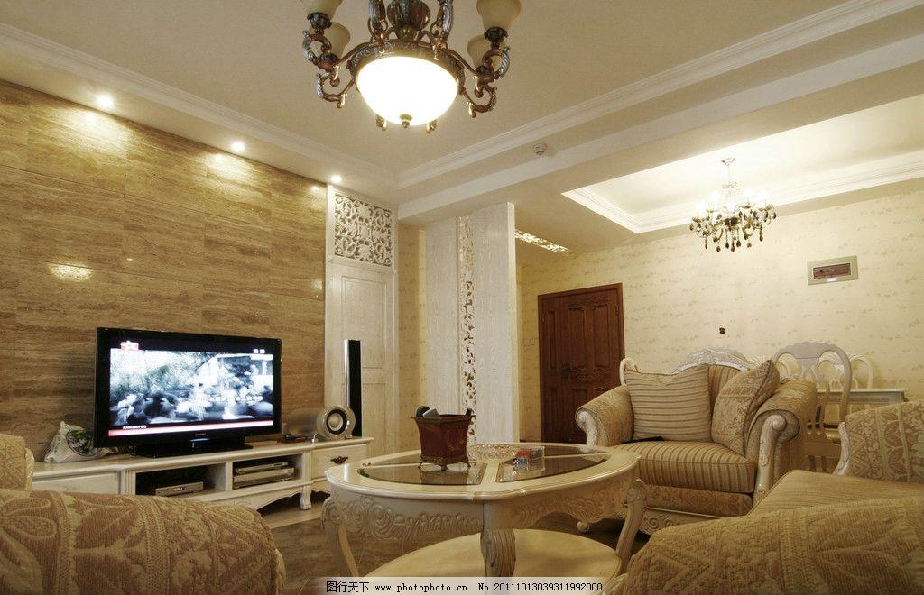 电视背景墙 吊灯 瓷砖 沙发 茶几 室内摄影 建筑园林
