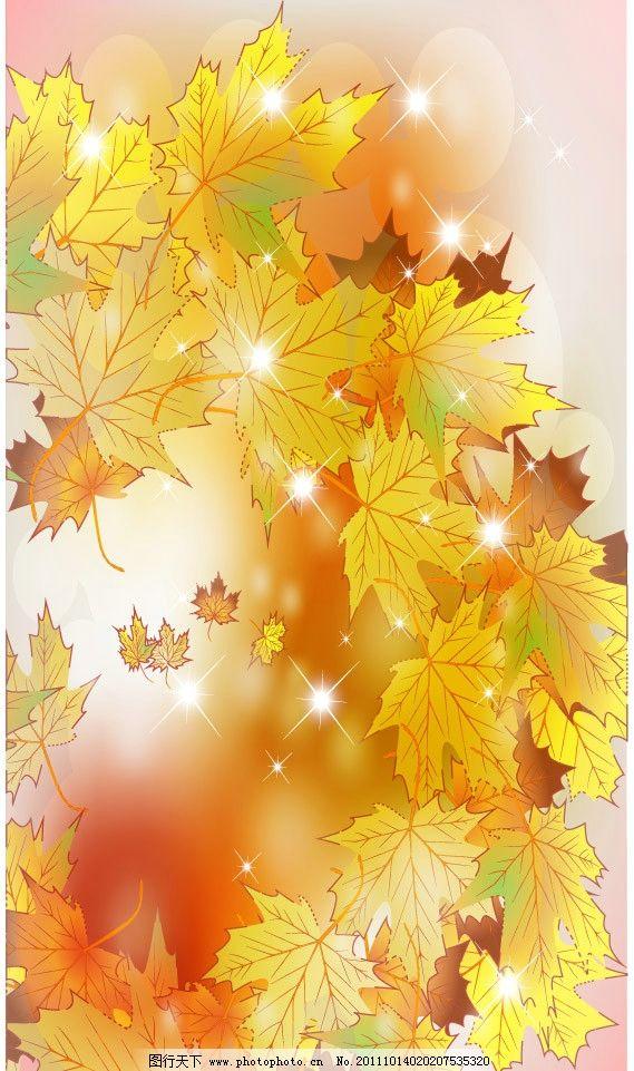 枫叶 红叶 树叶 金色 金黄 手绘 时尚 潮流 梦幻 浪漫 温馨 秋天背景