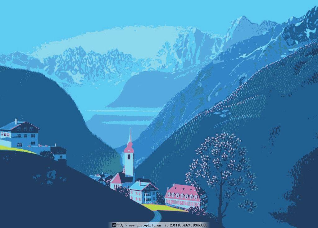 绿野仙踪 蓝天 自然风景 ai 矢量图 树 房子 山水风景 自然景观 矢量