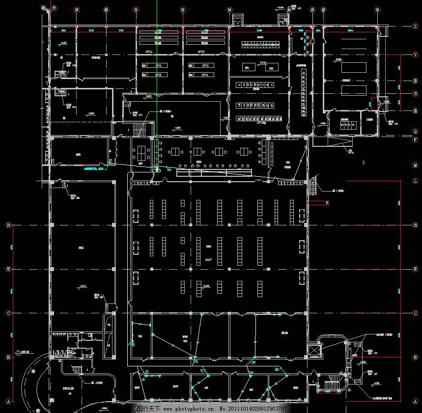 一层信息电源插座平面图 配电 弱电 照明 干线 配电箱 三相电