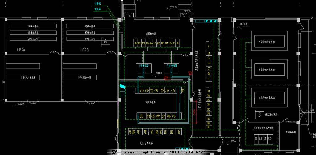 变配电所电气平面 配电 弱电 照明 干线 配电箱 三相电 两相电 开关
