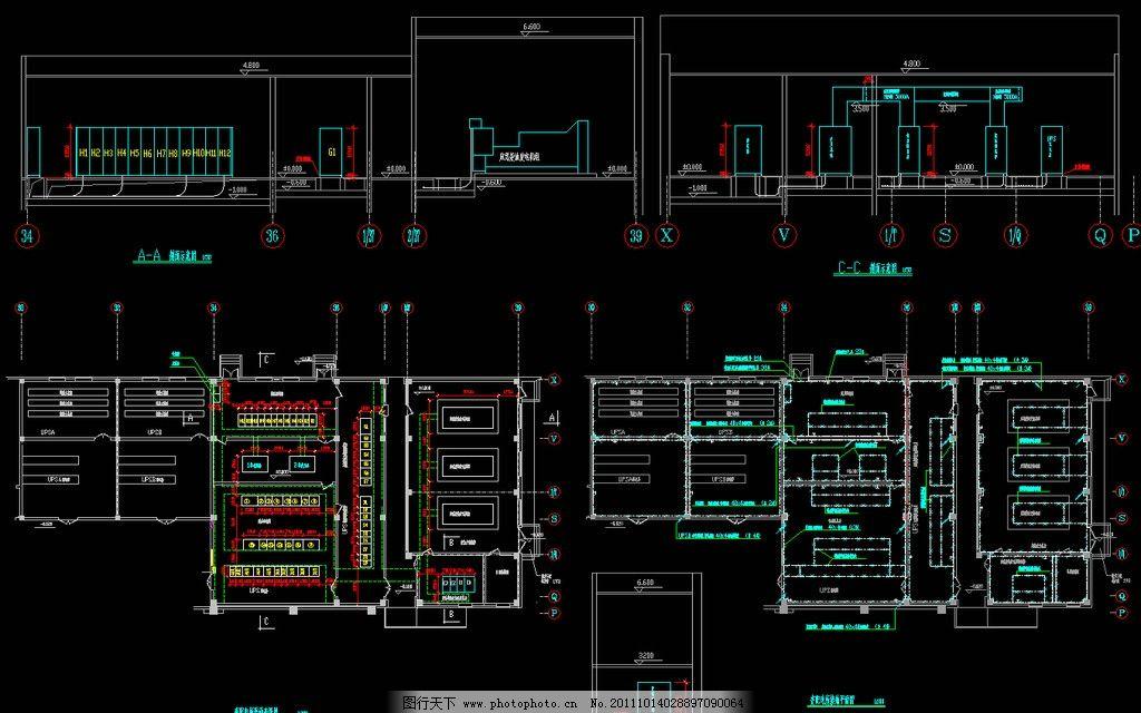变配电所详图 弱电 照明 干线 配电箱 三相电 两相电 开关 插座