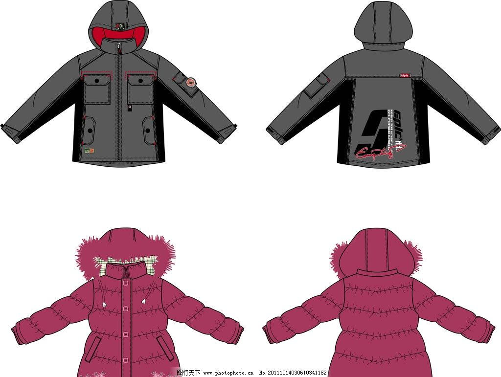服装款式图 ai服装 童装 外套 服装设计 棉衣 广告设计 矢量 ai