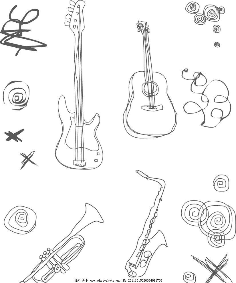 手绘简约线条乐器图片