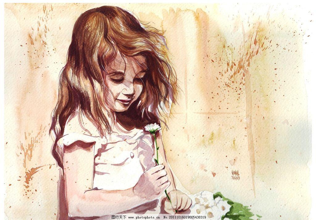 手绘小女孩图片