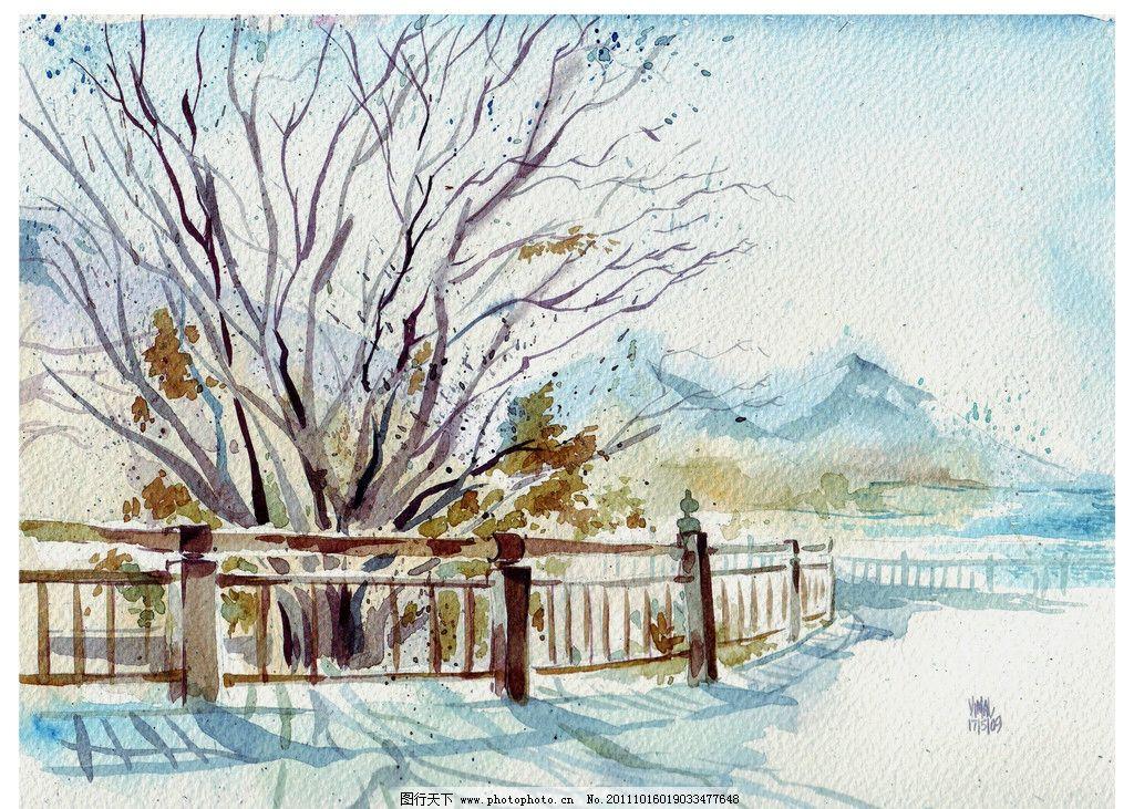 雪景 彩绘 手绘 雪 冬天 绘画书法 文化艺术 设计 69dpi jpg