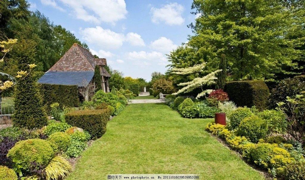 西式建筑 公园景色 花园景色 欧式园林 花圃 绿色长廊 图库 园林风景