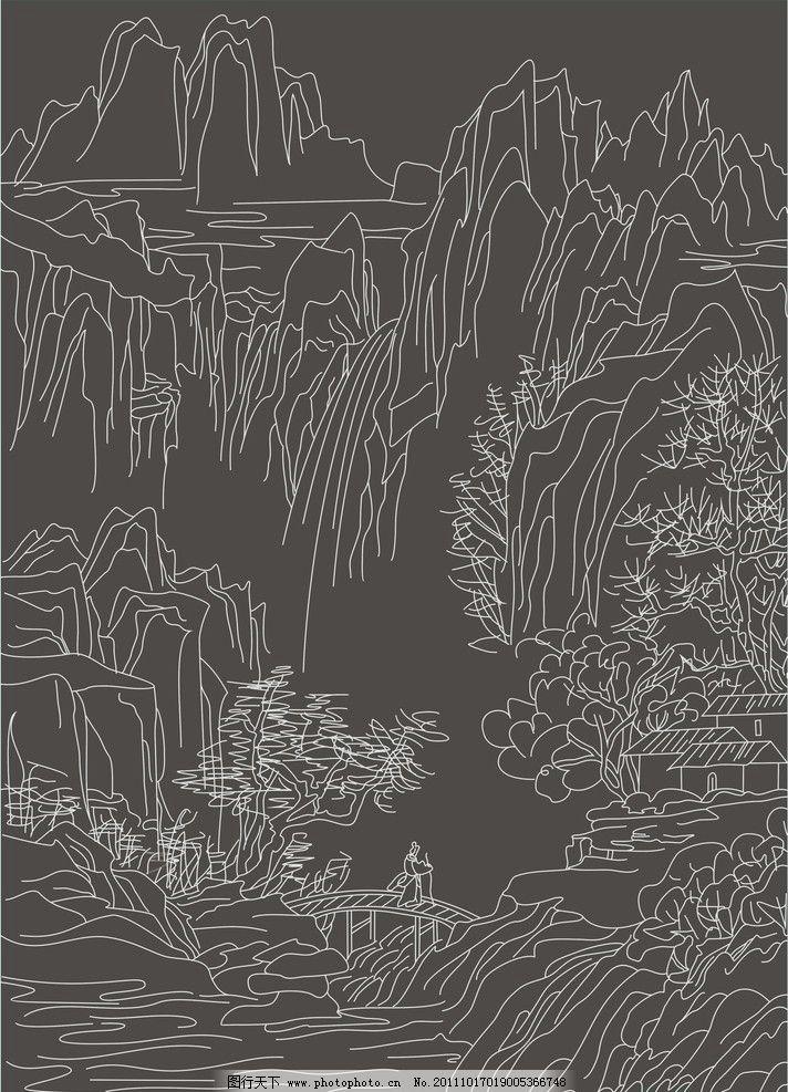 古代山水风景人物画图片