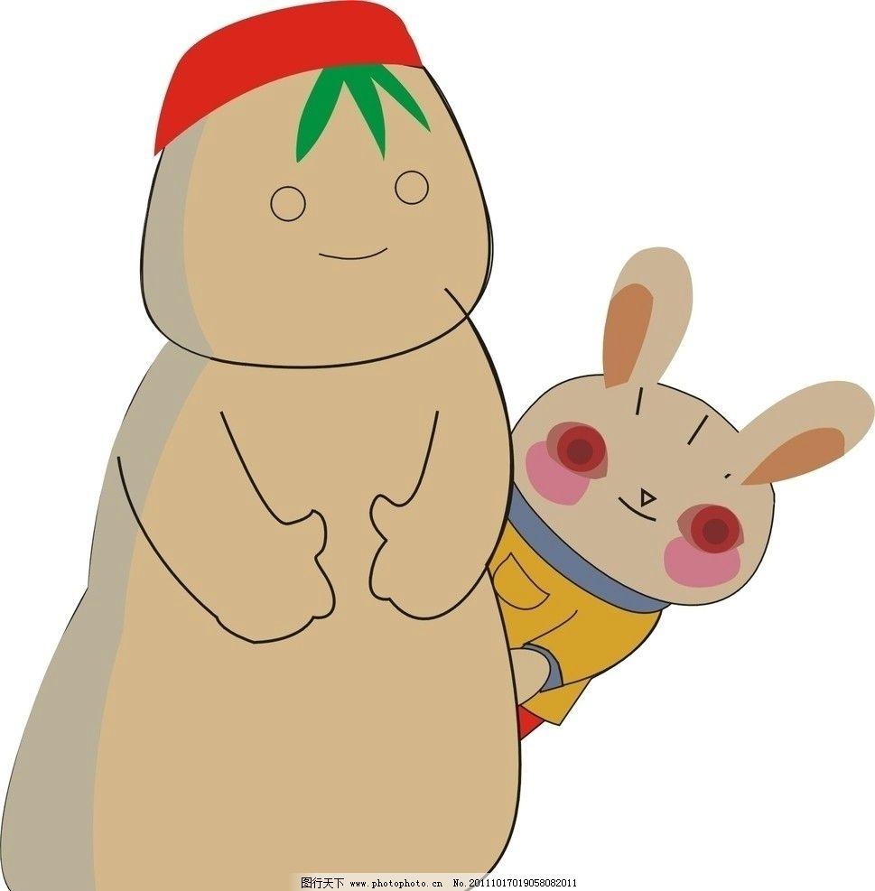 雪人和小白兔 雪人 小白兔 美术绘画 文化艺术 矢量 cdr
