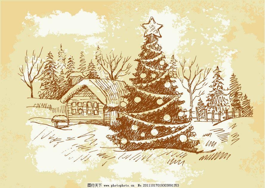 圣诞素材 圣诞 圣诞树 小屋 树木 雪地 手绘 素描 装饰 设计 矢量