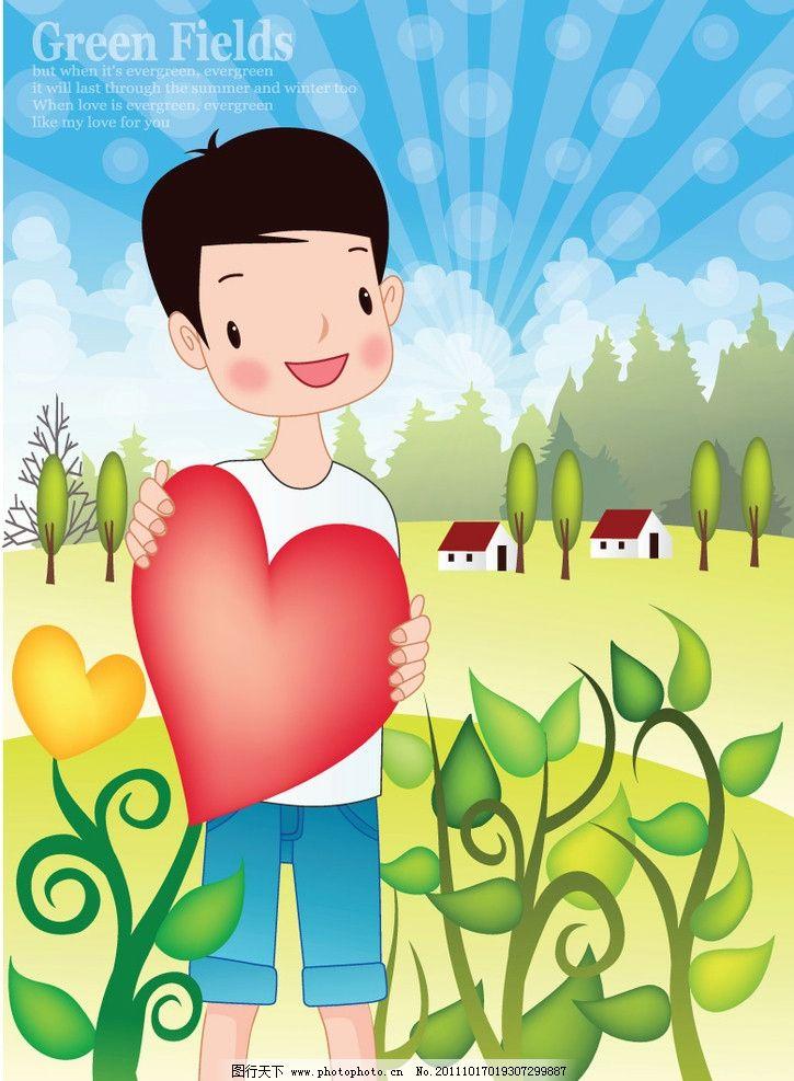 植树节图片 植树节 浇花 植树 树木 花草 卡通人物 节日 水壶 花盆