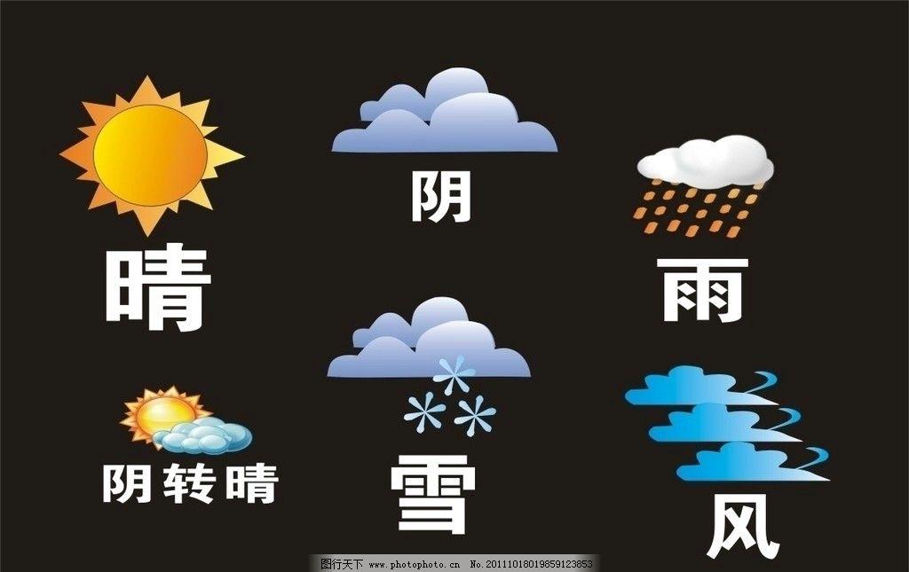 晴天 雨天 刮风 下雨 阴天 云朵 天气 预报 雪花 太阳 标识标志图标