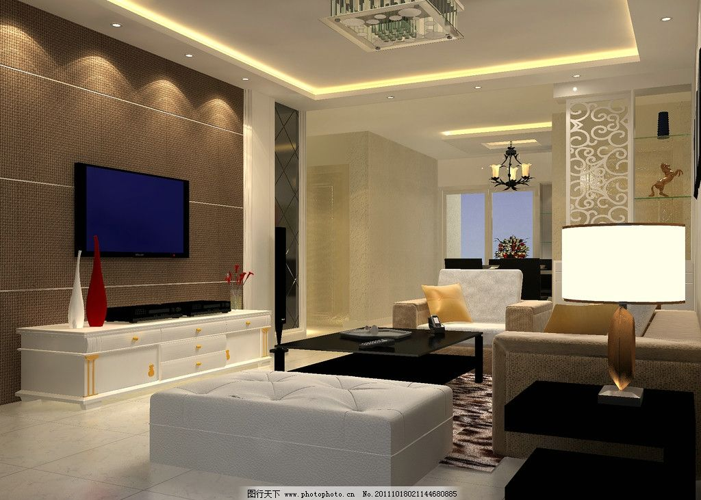 客厅效果图 现代装饰 沙发 电视背景墙 电视柜 玄关 餐厅 镂空隔断