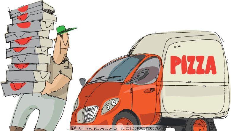 手绘货车卡车 货车 货运 搬运工 运输车 农夫车 运货 矢量素材 交通