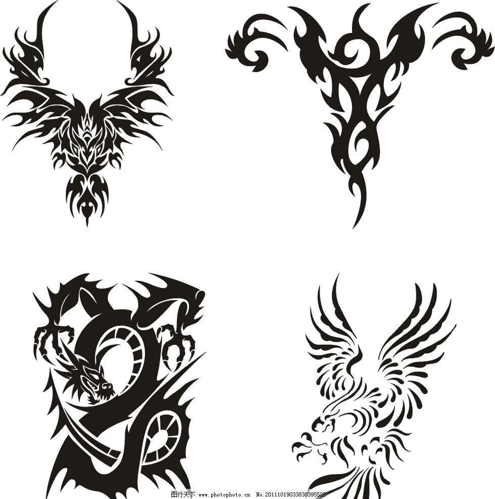 纹身图腾 纹身 图腾 剪纸 矢量图腾 鹰图腾 龙图腾 矢量素材 其他矢量